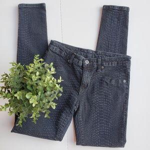 LF Carmar Snakeskin Embossed Skinny Jeans